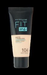 Maybelline Jade New York Fit me! Matte+Poreless mattierendes Make-up 104 Soft Ivory podkład matujący nr 104 delikatna  kość słoniowa