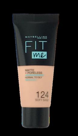 Maybelline Jade New York Fit me! Matte+Poreless mattierendes Make-up 124  Soft Sand podkład matujący nr 124 piaskowy
