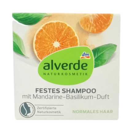 alverde Naturkosmetik festes Shampoo mit Mandarine-Basilikum-Duft szampon w kostce mandarynka, bazylia kostka